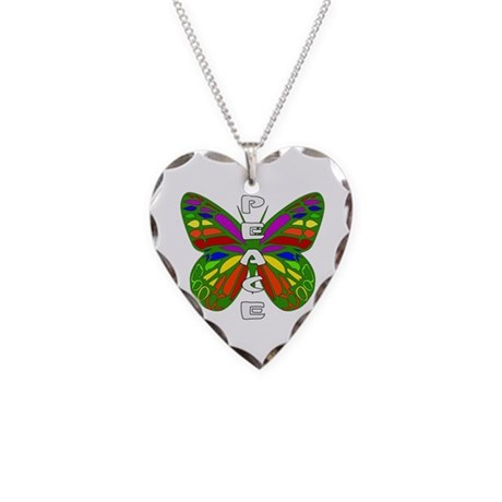 Peace Butterfly Necklace Heart Charm