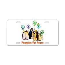 Peace Penguins Aluminum License Plate