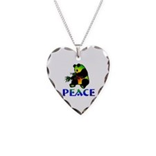 Peace Panda Bear Necklace Heart Charm