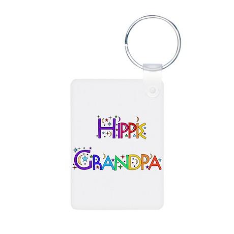 Hippie Grandpa Aluminum Photo Keychain