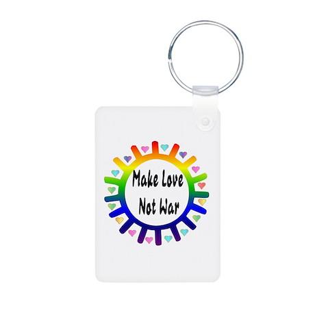 Make Love Not War Aluminum Photo Keychain