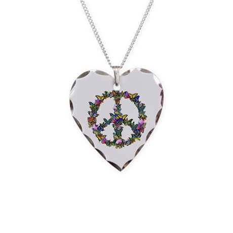 Butterflies Peace Sign Necklace Heart Charm
