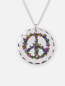 Butterflies Peace Sign Necklace