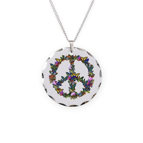 Butterflies Peace Sign Necklace Circle Charm