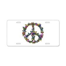 Butterflies Peace Sign Aluminum License Plate