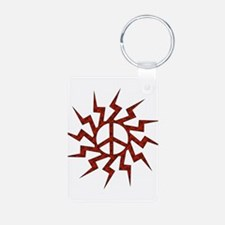 Flaming Peace Wheel Keychains