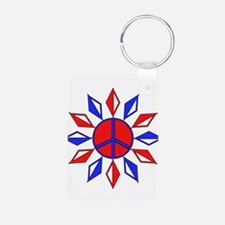 Red, White, and Blue Peace Keychains