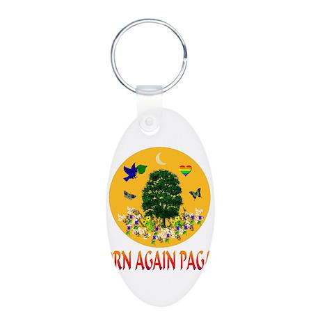 Born Again Pagan Aluminum Oval Keychain