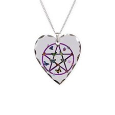 Wiccan Star and Butterflies Necklace Heart Charm