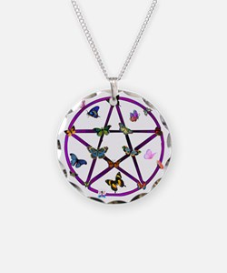 Wiccan Star and Butterflies Necklace Circle Charm