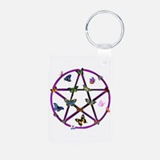 Wiccan Star and Butterflies Keychains