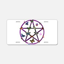 Wiccan Star and Butterflies Aluminum License Plate