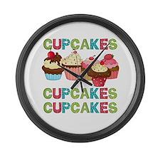 Cupcakes Cupcakes Cupcakes Large Wall Clock