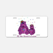 Purple Love Bears Aluminum License Plate
