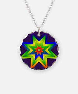 Rainbow Star Necklace Circle Charm