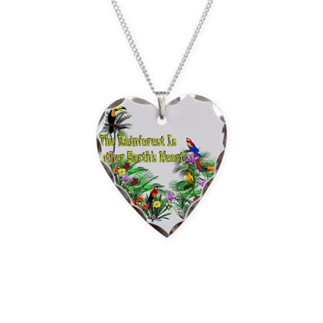 Save The Rainforest Necklace Heart Charm
