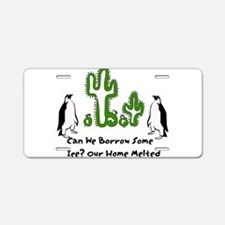 Global Warming Penguins Aluminum License Plate