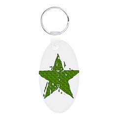Green Melting Star Aluminum Oval Keychain