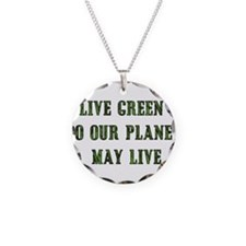 Live Green Necklace Circle Charm
