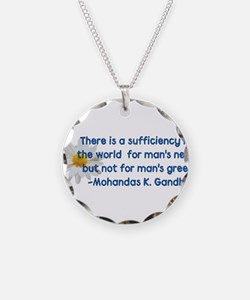 Gandhi Greed Quote Necklace