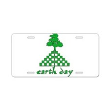 Earth Day Mountain and Tree Aluminum License Plate