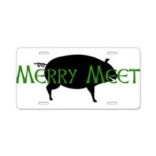 Merry Meet Spirit Pig Aluminum License Plate