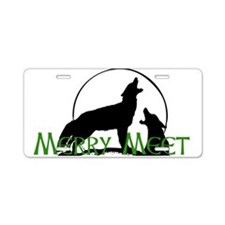 Merry Meet Spirit Wolf Aluminum License Plate