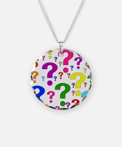Rainbow Question Marks Necklace Circle Charm
