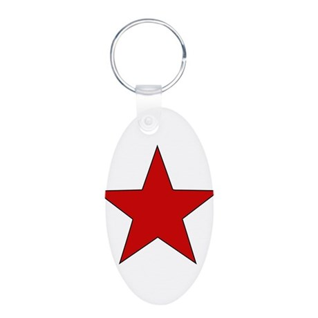 Red Star Aluminum Oval Keychain