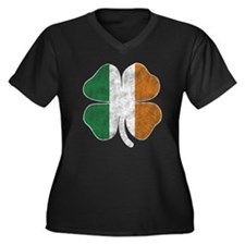 Irish Flag Shamrock Women's Plus Size V-Neck Dark