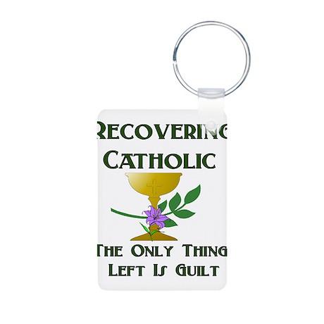 Recovering Catholic Aluminum Photo Keychain