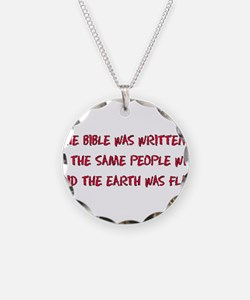 Flat Earth Bible Thumpers Necklace Circle Charm