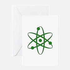 Atom - Dark Green Greeting Card