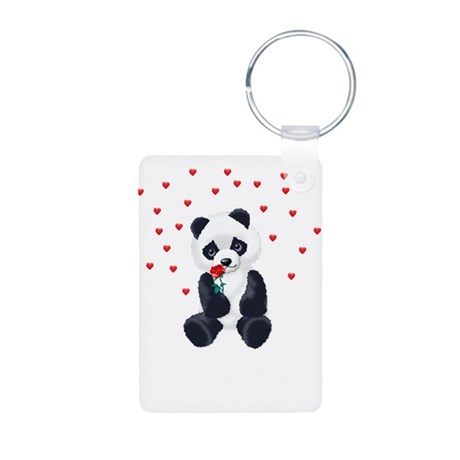 Panda Bear Love Aluminum Photo Keychain