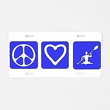 Peace Love Kayaking Aluminum License Plate