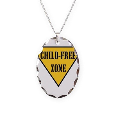 Child-Free Zone Necklace Oval Charm