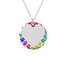 Cat Print Heart Necklace