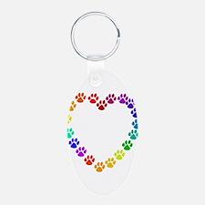 Cat Print Heart Keychains