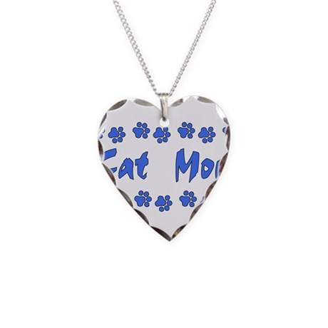 Cat Mom Necklace Heart Charm