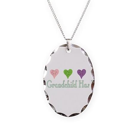 Furry Grandchild Necklace Oval Charm