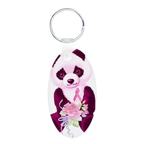 Breast Cancer Panda Bear Aluminum Oval Keychain