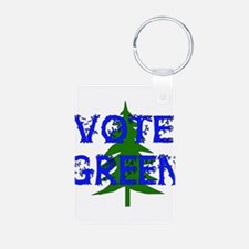 Vote Green Aluminum Photo Keychain