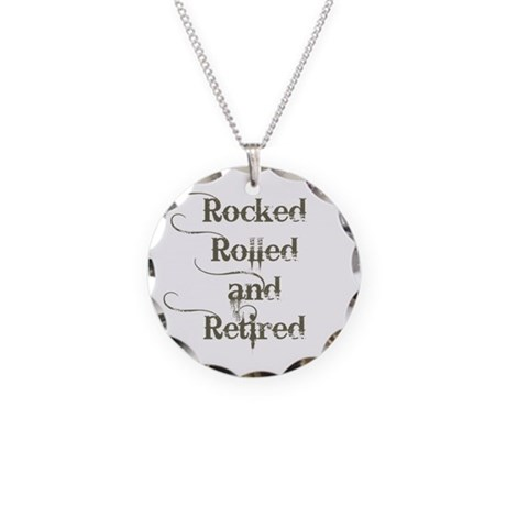 Rocked, Rolled and Retired Necklace Circle Charm