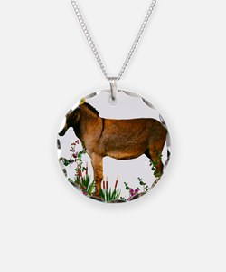 Burro in Straw Hat Necklace
