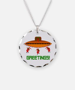 Space Aliens Christmas Necklace