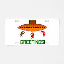Space Aliens Christmas Aluminum License Plate