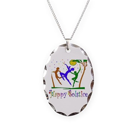 Winter Solstice Dancers Necklace Oval Charm