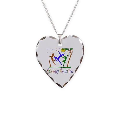 Winter Solstice Dancers Necklace Heart Charm