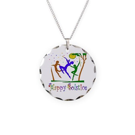 Winter Solstice Dancers Necklace Circle Charm