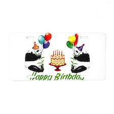 Birthday Pandas Aluminum License Plate